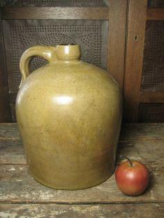 Early Old Large Country Farm Stoneware Jug – Unusual Dark Khaki Color  $95