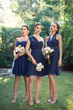 How many ways can you style the convertible navy blue lace @jennyyoo Aster bridesmaid dress? Rent the look at vowtobechic.com! Photography by @scottclarkphoto