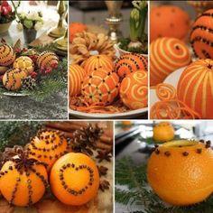 Decorazioni di Natale con frutta, piante spontanee e erbe aromatiche