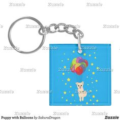 Puppy with Balloons Keychain #dogs #pets #animals #pomeranian #birthday