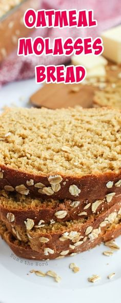 This oatmeal molasses bread is packed with flavor and will make your entire home smell amazing. Simple, yet delicious and always a hit, our favorite bread! #bread #oatmeal #molasses #oatmealmolasses #oatmealbread #molassesbread #christmas #holiday #yeastbread #homemade #sidedish #recipe #numstheword Molasses Bread, Food Alert, Cranberry Bread, Good Food, Yummy Food, No Knead Bread, Easy Bread Recipes, Dessert For Dinner, Recipe Guide