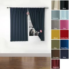 Solid Insulated Thermal Blackout Panel Pair (63 Inch). Short Curtains  BedroomBedroom BlindsWide CurtainsBlackout PanelsBlackout CurtainsUpstairs  ...