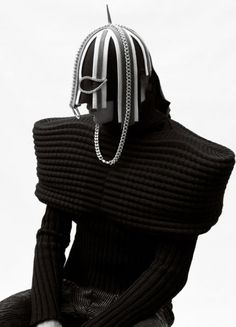avant garde headpiece and jumper - no source provided