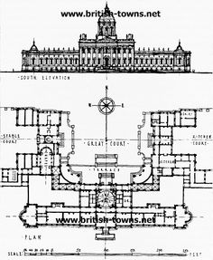A design plan of English Renaissance Castle Howard with its front court