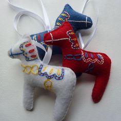 Embroidered Dala Horse Ornament - Etsy.