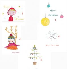 Christmas cards set / pack of 5 Xmas cards greetings cards m | The Little Bird Of Paradise Editions MISI Handmade Shop