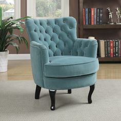 The Handy Living Home Furnishings Priscilla chair features upholstery in a soft turquoise blue velvet. The classic small scale design arm chair features a button tufted rolled back highlighted with a Blue Dining Room Chairs, Accent Chairs For Living Room, Club Chairs, Living Room Furniture, Living Room Decor, Arm Chairs, Office Chairs, Lounge Chairs, Tufted Chair