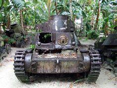 Japanese tank on Chuuk (Truk Atoll) in Micronesia.  A relic of World War II.