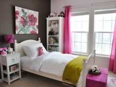 Accessories & Furniture, Breathtaking Black Mixed White Wall Paint Teenage Girl Bedroom Design Ideas With Cool White Wood Bed Frame On Combined Soft White Bedding And Nice White Wood Nightstand Table Plus Beautiful Black Purple Drum Table Lamp Also Wonderful Artwork : Comfort Teenage Girls Bedroom