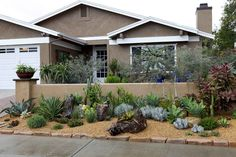 California Front Yard Landscaping Ideas, Southern Landscaping, Small Front Yard Landscaping, Succulent Landscaping, Backyard Landscaping, Natural Landscaping, Design Patio, Front Yard Design, Garden Design