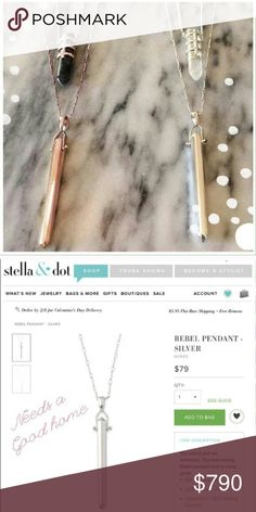 "Jewelry | rose Gold Stella & Dot Rebel Pendant A hinged shiny rose gold tone prism of fabulous swings from a delicate metal chain for the perfect simple look // subtle style // can be dressed up or down // measurements are approximately 28"" + 2"" extender 1st pic shows rose gold & silver option (silver now available) but the crystal add ons are not for sale. 2nd photo from s&d website. More photos coming soon!  Available in silver // like new & never been worn, only stored for several moths…"