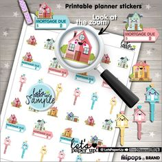 Mortgage Stickers, Printable Planner Stickers, Mortgage Due Stickers, Payment Due, Kawaii Stickers, Planner Accessories, Mortgage Payment