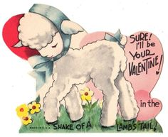 "SWEET LAMB SAYS ""I'M YOURS IN THE SHAKE OF A TAIL"" / VTG UNUSED VALENTINE CARD"