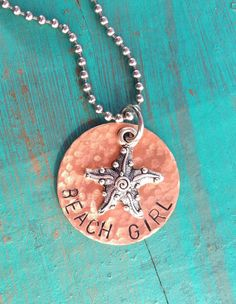 Beach Girl Handstamped Necklace by JewelryWithWords on Etsy