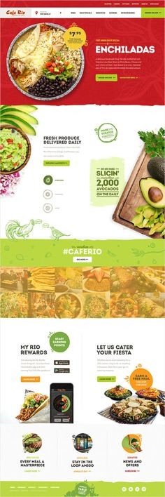 To better translate their promise of quality food online, Cafe Rio partnered with Union for digital expertise and inspiration. Cafe Rio, Enchiladas, Mexican Grill, Ui Web, Fresh, Restaurant Recipes, Corporate Identity, Web Design Inspiration, Ux Design