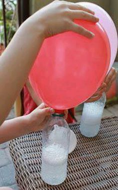 Clever! No helium needed to fill balloons for parties...just mix vinegar & baking soda!