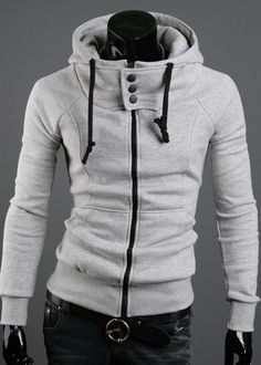 Fashion High Collar Hooded Solid Color Long Sleeve Cotton Blend Men's Hoodie