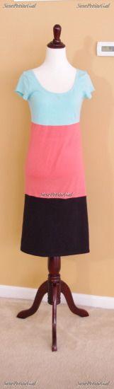 SewPetiteGal: 45 Min. Colorblocked T-Shirt Dress DIY - step by step Photo tutorial - Bildanleitung