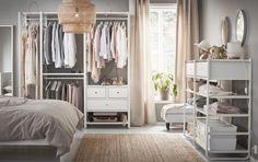 ELVARLI combinatie   IKEA IKEAnederland wooninspiratie inspiratie nieuw opbergen kleding garderobekast kast kleed tapijt bed SINNERLIG hanglamp