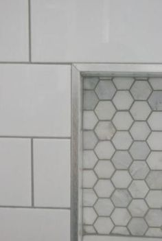 Choosing our shower tile design with subway tile and marble tile niche. This white and gray bathroom features IKEA vanities and herringbone floor. Bathroom Flooring, Bath Remodel, Bathroom Inspiration, Bathroom Remodel Master, Bathroom Redo, Shower Niche, Bathroom Makeover, Shower Design, Tile Bathroom