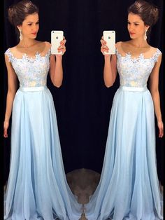 A-line+Bateau+Floor-length+Chiffon+Prom+Dresses/Evening+Dresses+#SP7238