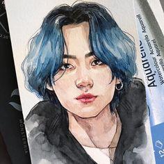 Kpop Drawings, Cool Art Drawings, Art Drawings Sketches, Jungkook Fanart, Kpop Fanart, Bts Jungkook, Foto Jimin, Fan Art, Bts Chibi