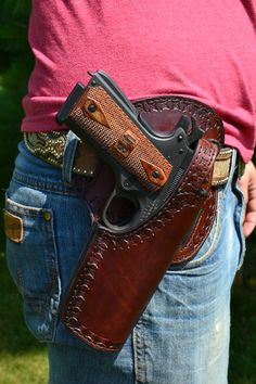 The Lac La Croix 1911 Holster by BlackwellCustom 1911 Holster, Pistol Holster, Colt M1911, Custom Leather Holsters, Western Holsters, Open Carry, Tac Gear, Leather Pattern, Leather Projects