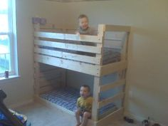 Plans for a toddler-sized bunk bed. (Using a crib mattress) NICE!