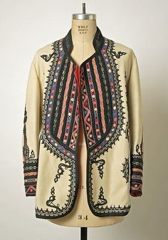 Coat Date: early century Culture: Romanian Medium: wool, silk Dimensions: Length at CB: 31 in. cm) Credit Line: Gift of Christine Valmy, 1981 Accession Number: Ethnic Fashion, Boho Fashion, Vintage Fashion, Womens Fashion, Fashion Design, Fashion Coat, Mode Style, Style Me, Vintage Outfits