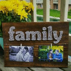 Made to order custom family photo string art display by Blossomingburlap on etsy - Decor DIY Nail String Art, String Crafts, Crafts To Do, Arts And Crafts, Diy Crafts, Resin Crafts, String Art Patterns, Thread Art, Hanging Pictures