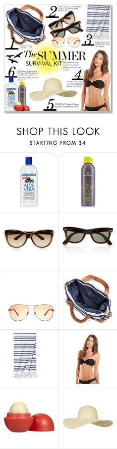 """""""THE SUMMER SURVIVAL KIT"""" by coeurdcoeurs7 ❤ liked on Polyvore featuring Alöe, Gucci, Ray-Ban, Burberry, Merona, Serena & Lily, Vanilla Beach, Eos and Topshop"""