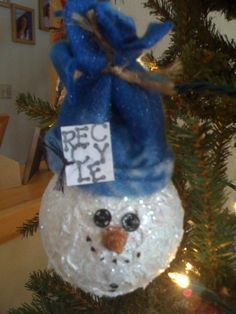 Recycled light bulb ornament I made for girls night