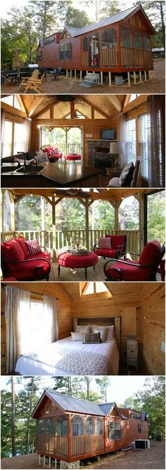 This Rustic Cabin in Alabama Takes Tiny Living to a New Level - Rustic River Park Homes in Hamilton, Alabama has designed a tiny house that just may be one of our new favorites! It's 37' long and a little under 14' wide including a 10' screened-in porch! This model isn't for sale but you can always contact the talented builder to get your own started which we think you may consider after taking a look inside!