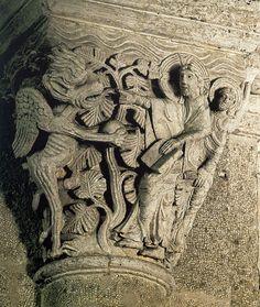 Базилика святого Андохия в Сольё 1120-1130 Капитель нефа. Первое искушение Христа.