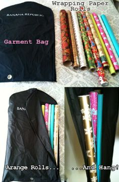 A standard garment bag is great for storing rolls of wrapping paper. Instead of keeping that paper in a box where it can be smashed, just put the rolls in a garment bag and hang it in your coat closet or wherever you have room. It takes up little space and will help to protect your paper from damage. Via: Practicallymartha – DIY Wrapping Paper Holder