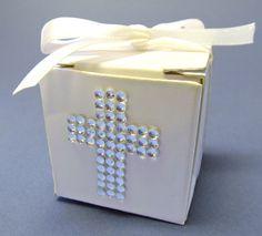 First Communion Favor Boxes with Rhinestone Cross