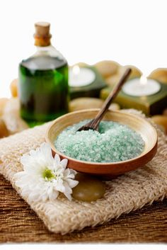 Mineral Bath Salts in a tranquil spa setting with aromatherapy massage oil. Shallow dof   If you guys are finding for that bathing product , you guys have come to the right place. Check it at http://bathandbodyguide.blogspot.com/
