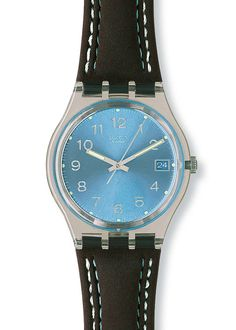 SWATCH BLUE CHOCO UNISEX WATCH GM415 £38.00 Swatch Ladies Blue Choco Watch. Blue Choco is an Original watch with a brown leather strap with white stitching along its side with a blue dial.
