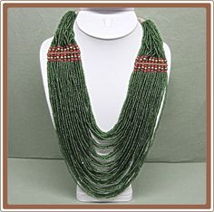 Multi Strand Torsade Green Glass Bead Necklace