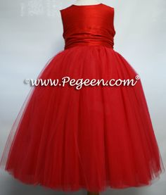 Flower girl dress, Pegeen Couture style 402 in red silk and red tulle, available in 200+ colors of silk from infants through plus sizes | Pegeen ~ Located 1 mile from Disney World, Selling online and shipping worldwide. Call us for design help! 407-928-2377