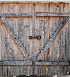 Rustic-Country-Barn-Doors-Old-Wood-Distressed-Boards-Fabric-SHOWER-CURTAIN-Bath