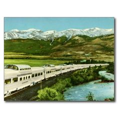 A reproduction of a vintage post card shows the diesel-powered, stainless steel California Zephyr, operating through the Colorado Rockies and Feather River Canyon. the scenic way across America! California Zephyr, Colorado Rockies, Vintage Postcards, Westerns, America, Vacation, Vintage Trains, Outdoor, Post Card