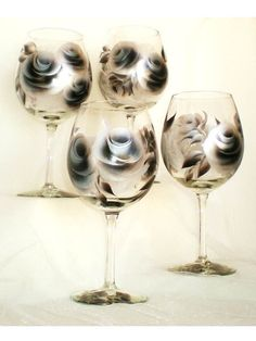 Painted Wine Glasses  Contemporary Hand by HandPaintedPetals, $48.00