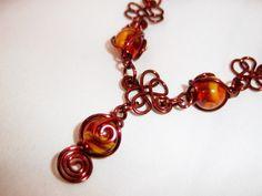Copper Wire Wrap Tiger Eye Necklace & Bangle Set by TracysJC, $55.00