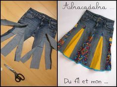 You'll love to make this Upcycled Denim Jeans Skirt and you can make it in a variety of styles and fabrics. Check out the Upside Down Upcycled Denim Jeans Dress too! Diy Fashion, Ideias Fashion, Skirt Fashion, Fashion Clothes, Jean Diy, Hippie Skirts, Diy Kleidung, Diy Vetement, Denim Crafts