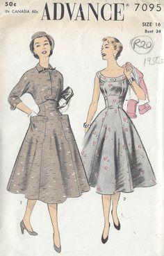 "1950s Vintage Sewing Pattern DRESS & JACKET B34"" (R20) #Advance"