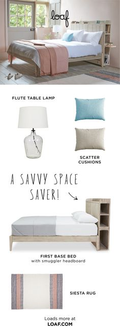 If you& tight on space our clever storage Smuggler headboard will give books and other bits a home. There& even a slide-out shelf for your cuppa. Small Room Bedroom, Home Bedroom, Bedroom Decor, Bedroom Ideas, Bedrooms, My New Room, My Room, Bed Shelves, Headboard With Shelves