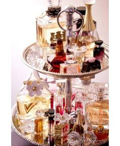 Cake Stand -  Everything from brushes to hair ties to curling irons and perfume bottles can have a place on a cake Stand.