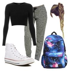 """""""Lazy Day Outfit For School"""" by yaylexi on Polyvore featuring Topshop and Converse"""