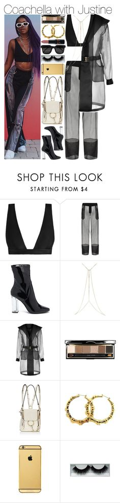 """Coachella with Justine"" by swaggxdirection ❤ liked on Polyvore featuring Zimmermann, La Perla, Forever 21, River Island, Bobbi Brown Cosmetics, Chloé, Goldgenie, Kuboraum, MAC Cosmetics and coachella"